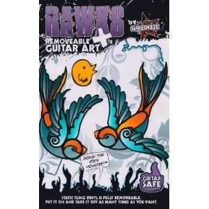 RAWKS Multi Pack (2 Swallows (Color) + Tweet Bird)   Removable Guitar