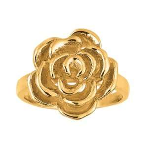 Sterling Silver Rhodium Yellow Gold Plated Fancy Flower Ring   Size 8