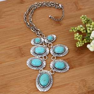 oval fashion black Tibet silver turquoise link necklace