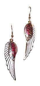 EARRINGS E15 Cloisonne Wires Colorful Enamel White ANGEL WINGS