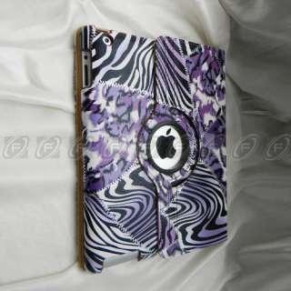 iPad 2 Magnetic Smart Cover Zebra PU Leather Case 360 Rotating Swivel