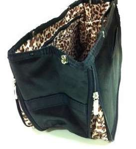 Purse Bag Handbag Tote Large Organizer Insert Black Leopard inside O