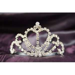 Princess Bridal Wedding Tiara Crown with Crystal Heart