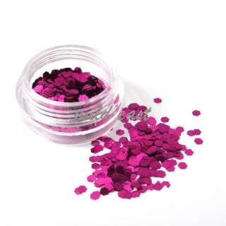 12 Colors Big Hexagon Glitter Nail Art Decoration Acrylic tips B17