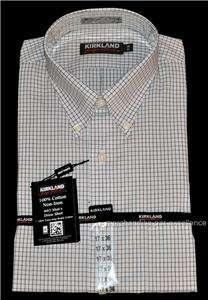 NEW NO IRON mens KIRKLAND 80/2 100% Cotton Dress SHIRT White Brown