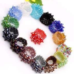 Fashion Mixed Colors Faceted Crystal Beads Stretch Ring Adjustable 16