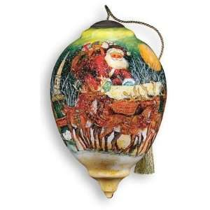 Up On The Housetop Hand Painted Glass Ornament