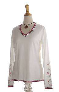 EDDIE BAUER ~ WHITE Stretch Printed Knit TEE in Large Tall ~ LT