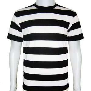 Mens Striped T Shirt Short Sleeve Black & White Stripes Tees New (Size