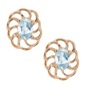 1.10 Ct Oval Sky Blue Topaz 10k Rose Gold Earrings Jewelry