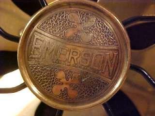 Antique Emerson 6 Brass Blade 12 Oscillating Electric Desk Fan Type