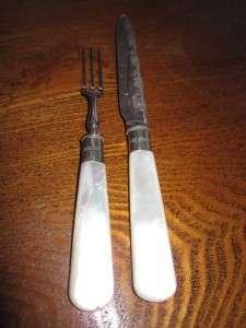 Antique English c1908 Edwardian Fruit Knife Fork Mother of Pearl