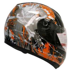 ORANGE BLACK SKULL BONE FULL FACE MOTORCYCLE HELMET ~L