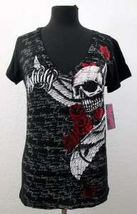 Hostility Envious Black Womens Short Sleeve Shirt Skull Wings Roses