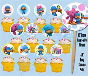 Pocoyo 1.5 Round Cupcake Picks Cake Toppers  12 pcs
