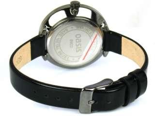 OASIS B922 Large Round Black Face Black Croc Leather
