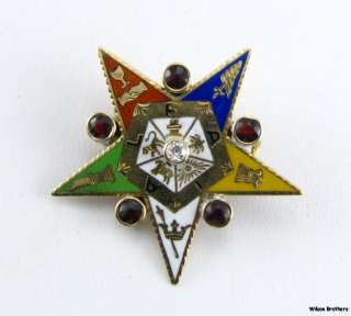 Order Eastern Star OES 14k Yellow Gold Large Badge PIN