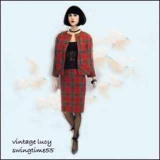 VINTAGE 50s 60s MOD PLAID SKIRT JACKET DRESS PARTY SUIT