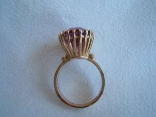 Vintage 14k Gold Ring w Pink Stone in Basket Setting