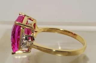 02CT CUSHION CUT PINK TOPAZ & DIAMOND RING SIZE 7