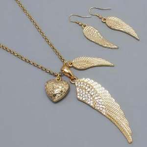 Womens Necklace & Earrings Set, Angel Wings with Stones, Gold Jewelry