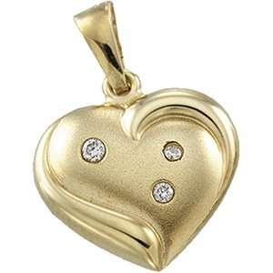 14K Yellow Gold Heart Pendant W/Diamonds
