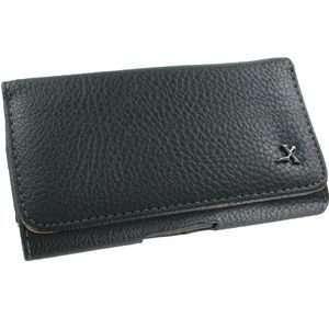 VanMobileGear Black Horizontal Leather Belt Clip Case + LCD Screen