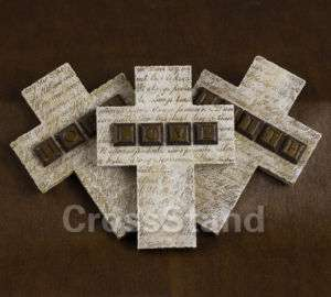 3x FAITH HOPE LOVE HOLY CROSS WALL HANGING PLAQUE TILE