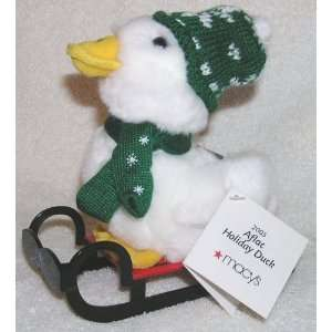 2005 Christmas 6 Plush Talking Aflac Holiday Duck on Sled