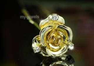 pcs X Bridal 3D Rose Crystal Gold Pla Hair Pins P1145