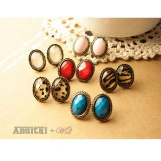 Fashion Hot Retro Bronze Crystal Leopard Oval Shaped Earring Pin Nail