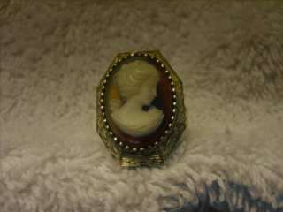 Vintage LUZIER Cameo Solid Perfume Adjustable Ring