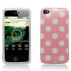 Pink with White Polka Dot Design Soft Tpu Silicone Skin Gel Cover Case