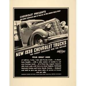 1938 Ad Vintage Chevrolet Chevy Trucks Trailers Cab