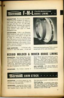 1939 THERMOID Co Brake Linings Clutch Facings ASBESTOS Cars Bus Trucks