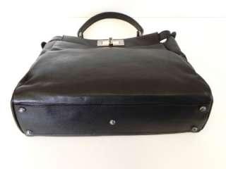 2,690 AUTH NWT Fendi Peekaboo Black Leather Bag w/ Zucca Lining