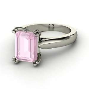 Julianne Ring, Emerald Cut Rose Quartz 14K White Gold Ring