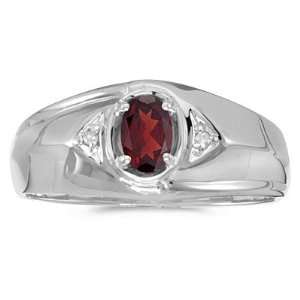 Diamond and 6 x 4 MM Oval Shaped Garnet Mens Ring Katarina Jewelry