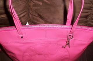 NWT Authentic COACH Laura Patent Leather Tote Bag Pomegranate Pink