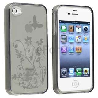 for iPhone 4 4S 4G Flower Rubber Case+LCD Film+INSTEN Armband