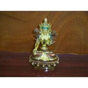 Hindu Holy Woman Statue Figurine    6 Gold Color