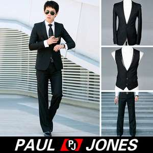 1Pc Mens Fashion Stylish Slim Fit One Button Suit Black Blazer/Vest