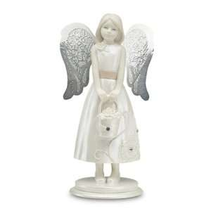 Little Things Mean A Lot Flower Girl Angel Figurine, 4 1/4