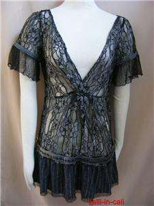 FREE PEOPLE Day Dream Lace Black Silver Pinstripe Beaded Romantic
