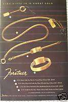 FORSTNER GOLD JEWELRY KEY CHAIN VINTAGE AD 1945