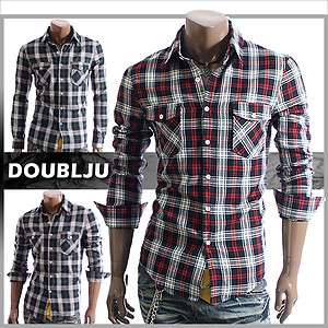 Mens Casual Check Plaid Buttondown Shirts RED/GREEN(C3K