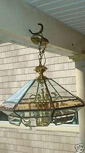 FREDRICK RAMOND SOLID BRASS BEVELED GLASS CHANDELIER
