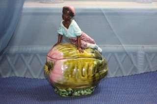 Blackamoor Black Americana African American Child Humidor Candy Dish