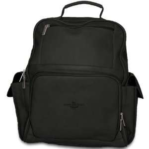 Pangea Black Leather Large Computer Backpack   Houston