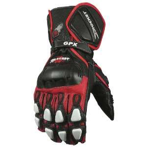 Leather Sports Bike Racing Motorcycle Gloves   Black/Red/White / Small